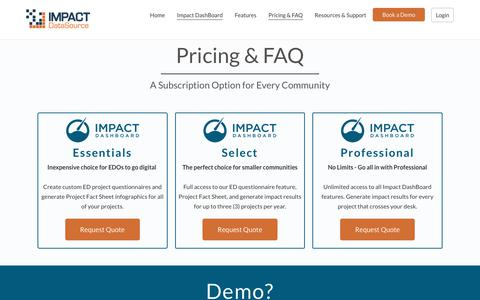 Screenshot of Pricing Page impactdatasource.com - Pricing & FAQ - Impact DataSource - captured Feb. 13, 2019