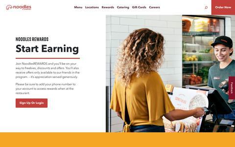 Screenshot of Signup Page noodles.com - Noodles Rewards ~ Noodles & Company - captured Sept. 27, 2019