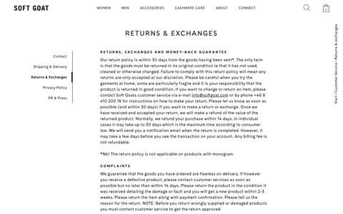 Screenshot of Terms Page softgoat.com - Returns & Exchanges - Soft Goat Online Cashmere - captured Oct. 18, 2018
