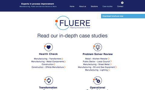 Screenshot of Case Studies Page fluere.co.uk - Case Studies | Helping processes to flow - captured Oct. 14, 2017