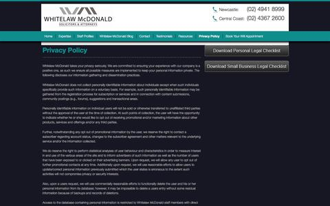 Screenshot of Privacy Page whitelawmcdonald.com.au - Privacy Policy | Whitelaw McDonald - captured Dec. 12, 2016