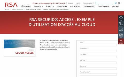 Screenshot of Case Studies Page rsa.com - RSA SecurID® Access: exemple d'utilisation d'accès au Cloud - captured Dec. 12, 2019