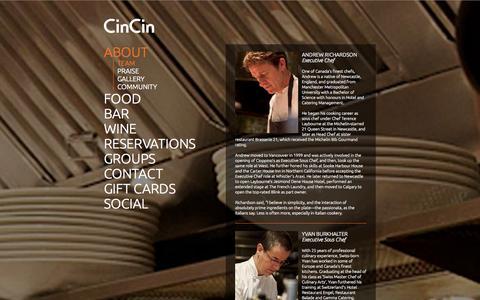 Screenshot of Team Page cincin.net - TEAM | CinCin Restaurant + Bar Vancouver | Wood Fired Italian Cucina - captured Oct. 2, 2014