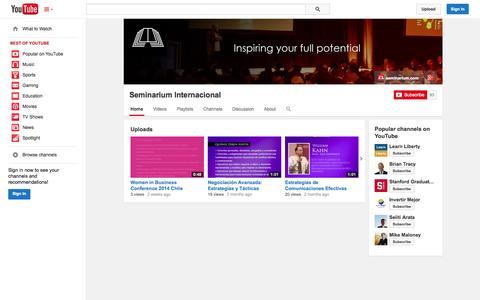 Screenshot of YouTube Page youtube.com - Seminarium Internacional  - YouTube - captured Oct. 23, 2014