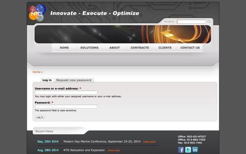Screenshot of Login Page ntgit.com - User account   NTG - Northern Technologies Group - captured Oct. 6, 2014