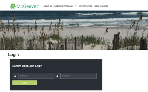 Screenshot of Login Page mcgeeverllc.com - Login – McGeever LLC - captured June 10, 2017