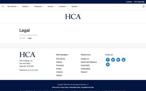 Screenshot of Privacy Page Terms Page hcahealthcare.com - Legal | HCA Healthcare - captured Aug. 23, 2016