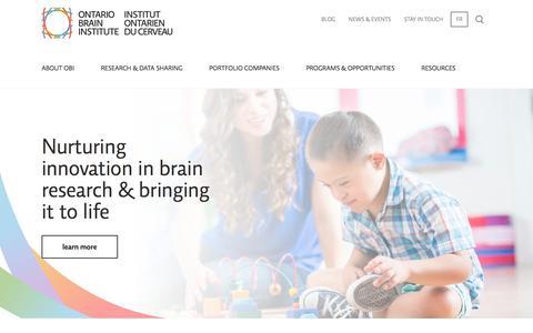 Screenshot of Home Page braininstitute.ca - Nurturing innovation in brain research &… | Ontario Brain Institute - captured Nov. 13, 2017