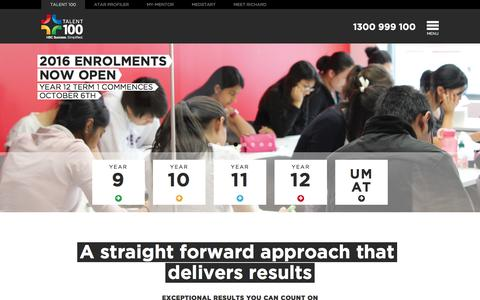 Screenshot of Home Page talent-100.com.au - HSC Exam Preparation Courses   Effective Tutoring from Talent 100 - captured Feb. 27, 2016