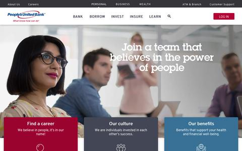 Screenshot of Jobs Page peoples.com - Welcome to Careers | People's United Bank - captured July 17, 2019