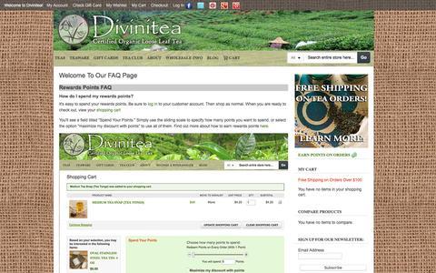 Screenshot of FAQ Page divinitea.com - Divinitea FAQ - captured April 10, 2017