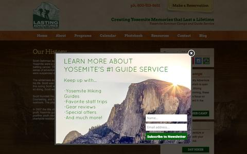 Screenshot of About Page lastingadventures.com - Yosemite Guide Service - History of Lasting Adventures - captured May 14, 2017