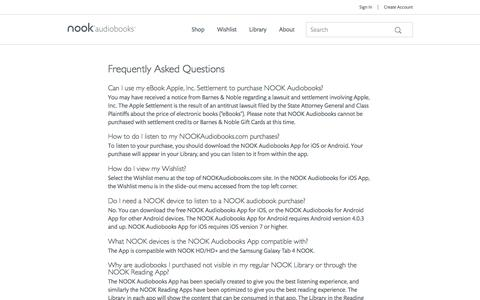 Screenshot of FAQ Page nookaudiobooks.com - FAQ - NOOK Audiobooks - captured July 2, 2016