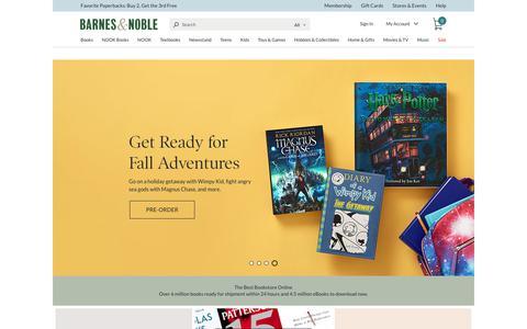 Screenshot of barnesandnoble.com - Online Bookstore: Books, NOOK ebooks, Music, Movies & Toys | Barnes & Noble® - captured Sept. 18, 2017