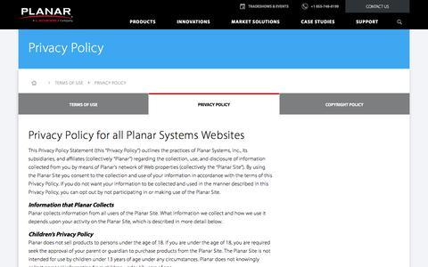 Screenshot of Privacy Page planar.com - Privacy Policy | Planar - captured May 19, 2018