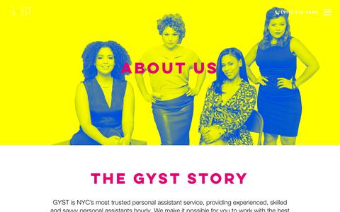 Screenshot of About Page gystplease.com - About GYST: NYC's Best Personal Assistant Service - captured July 5, 2018