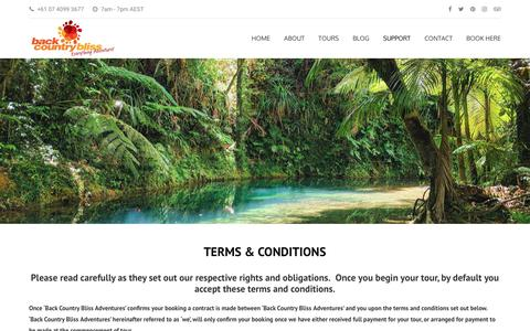 Screenshot of Terms Page backcountrybliss.com.au - Terms and Conditions - captured Nov. 13, 2018