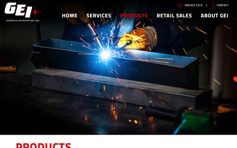 Screenshot of Products Page gei-1.com - Product Inventory | Gingrich Enterprises Inc. - captured Sept. 28, 2018