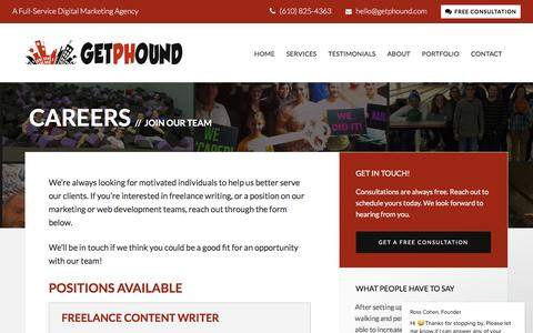 Screenshot of Jobs Page getphound.com - Ross Cohen, Founder says… - captured July 18, 2018