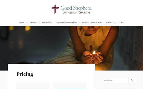 Screenshot of Pricing Page titusvillelutherans.org - Pricing - Good Shepherd Lutheran Church - captured Nov. 11, 2016