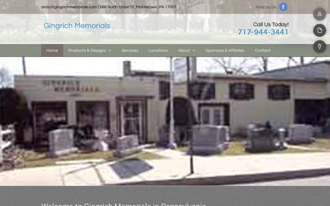 Screenshot of Home Page gingrichmemorials.com - Cemetery Monument | Middletown, PA | Gingrich Memorials - captured Dec. 8, 2018