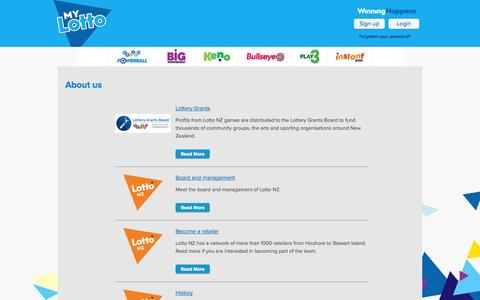 Screenshot of About Page mylotto.co.nz - About us » MyLotto - captured Oct. 31, 2014