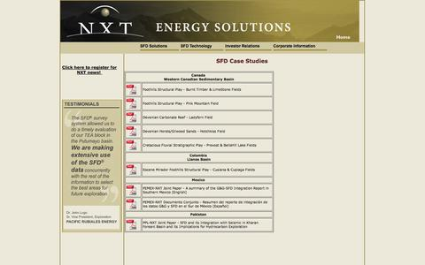 Screenshot of Case Studies Page nxtenergy.com - SFD Success Stories - captured Oct. 6, 2014