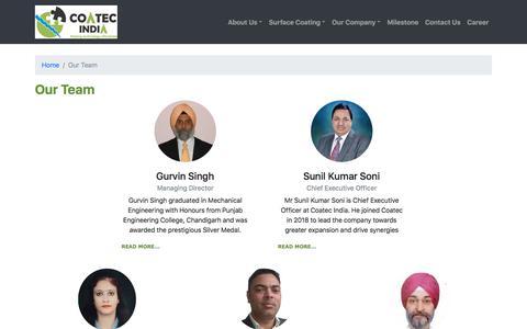 Screenshot of Team Page coatecindia.com - Coatec India - captured July 19, 2018