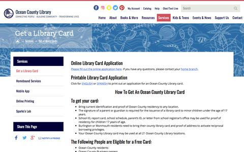 Screenshot of Services Page Signup Page theoceancountylibrary.org - Get a Library Card | Ocean County Library - captured Sept. 21, 2018