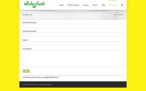 Screenshot of Contact Page sebafoods.co.zm - Contact Seba Foods Today - captured Nov. 19, 2016