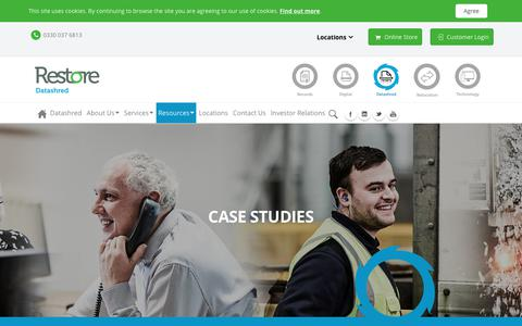 Screenshot of Case Studies Page restore.co.uk - Case Studies - captured Sept. 26, 2018