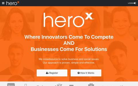 Screenshot of Home Page herox.com - HeroX - Crowdsourcing - captured Aug. 25, 2018