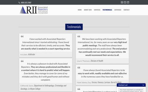 Screenshot of Testimonials Page courtsteno.com - Testimonials - Associated Reporters International Inc. | Court Reporting | 800-523-7887 - captured Oct. 4, 2018