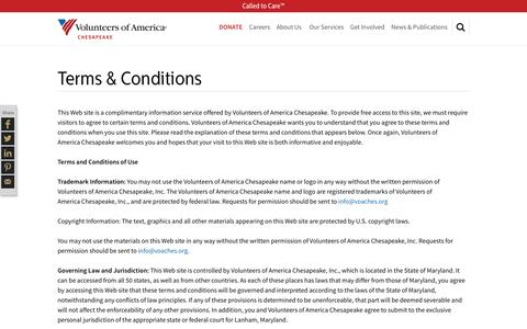 Screenshot of Terms Page voachesapeake.org - Terms & Conditions | Volunteers of America - captured Feb. 15, 2016