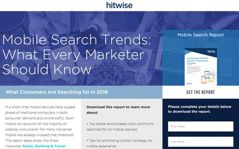 Screenshot of Landing Page connexity.com - Hitwise | Mobile Search Report - captured Nov. 4, 2016