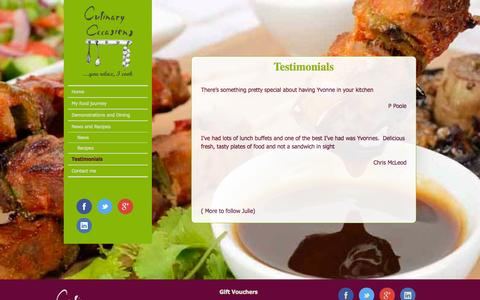 Screenshot of Testimonials Page culinaryoccasions.co.uk - Culinary Occasions Cumbria Testimonisals and review | Culinary Occasions - captured Sept. 30, 2014
