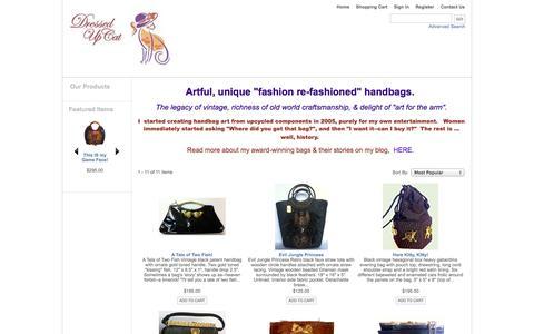 Screenshot of Home Page dressedupcat.com - Dressed Up Cat  Fashion Re-fashioned Handbags - captured Oct. 5, 2014