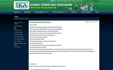 Screenshot of FAQ Page ijga.org - FAQ's   llinois Junior Golf Association (IJGA) - captured Oct. 4, 2014