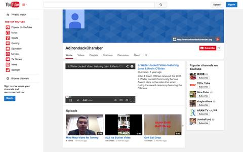 Screenshot of YouTube Page youtube.com - AdirondackChamber  - YouTube - captured Oct. 23, 2014