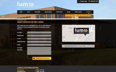 Screenshot of Contact Page lumio.nl - Contact - Lumio Lichtprojecten - captured Oct. 3, 2014