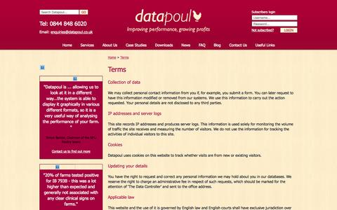 Screenshot of Terms Page datapoul.co.uk - Terms - Datapoul - Improving performance, growing profits - captured Oct. 5, 2014