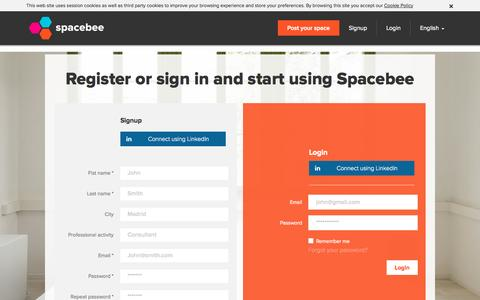 Screenshot of Login Page spacebee.com - Spacebee | Register or sign in and start using Spacebee - captured Oct. 29, 2014
