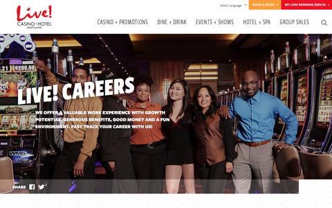 Screenshot of Jobs Page marylandlivecasino.com - Maryland Live! Job Openings | Maryland Live Casino - captured May 26, 2017