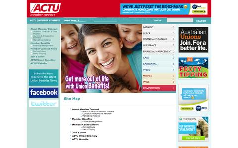 Screenshot of Site Map Page memberconnect.com.au - Site Map - Australian Council of Trade Unions - captured Oct. 4, 2014