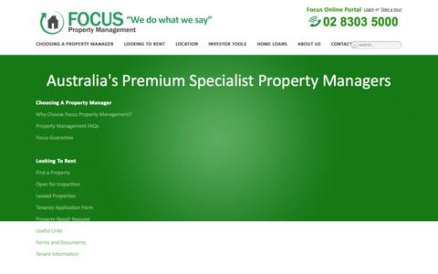 Screenshot of Site Map Page focuspropertymanagement.com.au - Site Map | Focus Property Management - Sydney Property Managers - captured Oct. 6, 2014