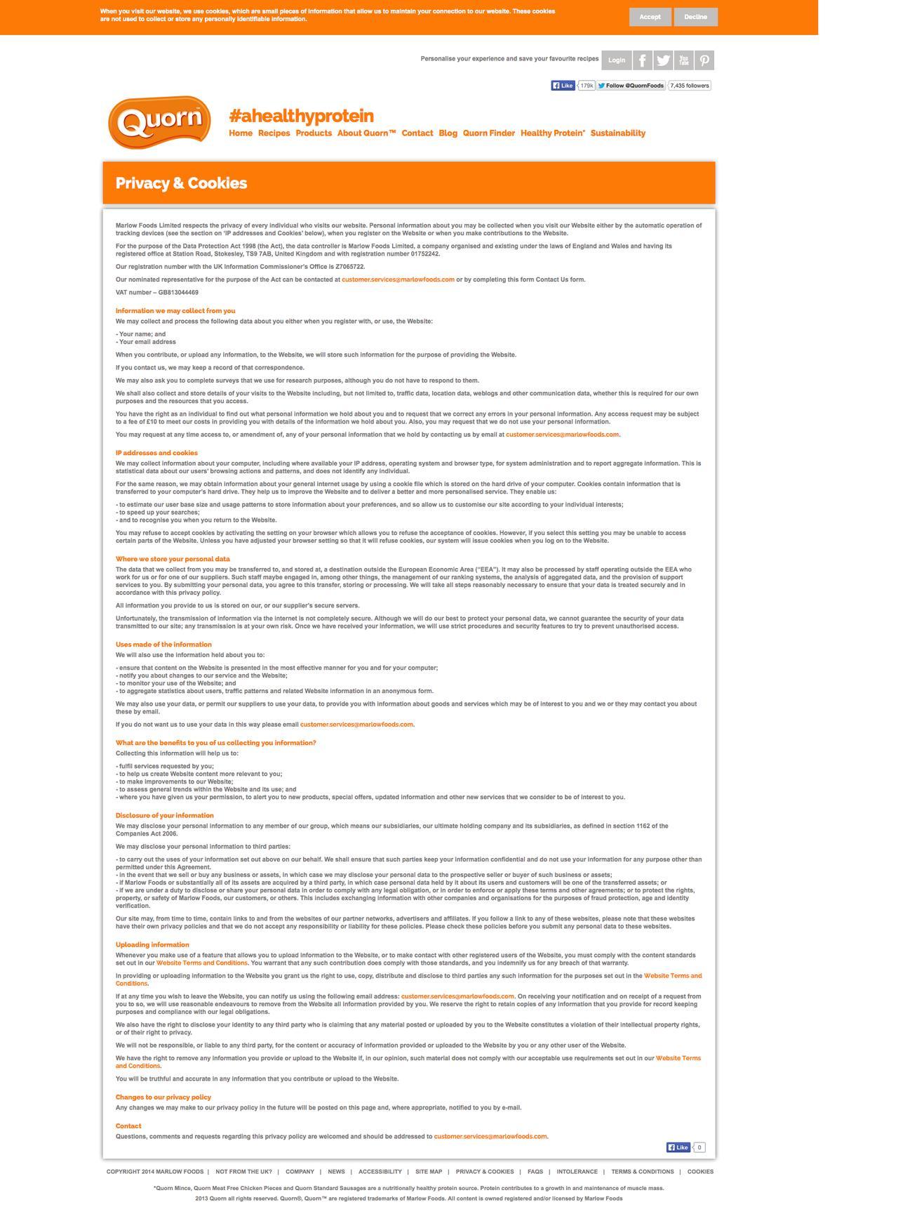 Screenshot of quorn.co.uk - Privacy & Cookies - captured Sept. 19, 2014
