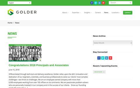 Screenshot of Press Page golder.com - News | Golder - captured July 6, 2018