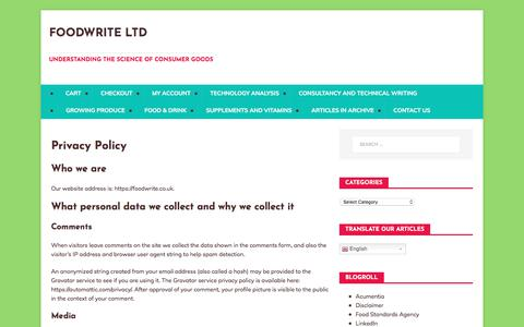 Screenshot of Privacy Page foodwrite.co.uk - Privacy Policy - FoodWrite Ltd - captured Aug. 19, 2018