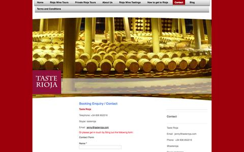 Screenshot of Contact Page tasterioja.es - Taste Rioja Contact - captured Oct. 26, 2014