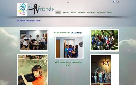 Screenshot of Home Page allrfriends.com - all R friends - We measure our success in smiles! - captured Sept. 30, 2014